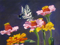 "thumbnail image of painting ""Swallowtail Butterfly on Flowers"""